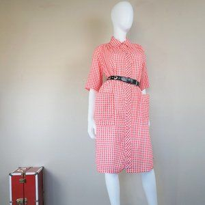 Vintage Red & White Checkered Snap Button Dress